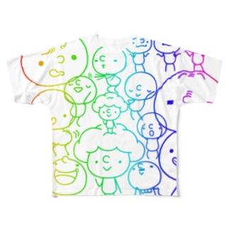 ぼんぼんレインボー Full graphic T-shirts