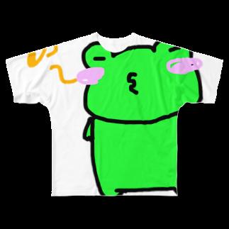 かえるのお店の口笛カエル Full graphic T-shirts