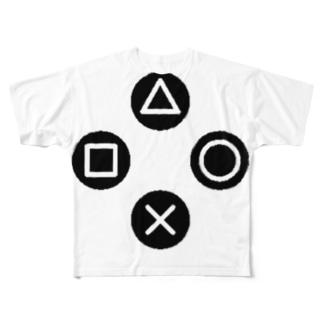 三角、四角、丸、バツ Full graphic T-shirts