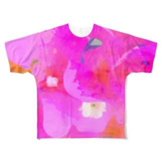 ピンクの花 Full graphic T-shirts
