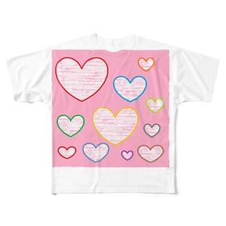 ハートの気持ち ★ Full graphic T-shirts