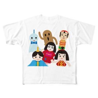 日本の人形ALL-hina doll and dolls of the world-お雛はんと世界の人形たち- Full graphic T-shirts