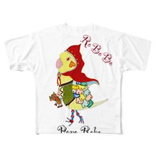 ねこぜや のROBOBO オカメインコ「ポポロボ」 Full graphic T-shirts