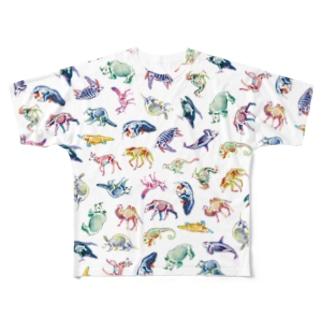 どうぶつとホネ[pattern-B] Full graphic T-shirts