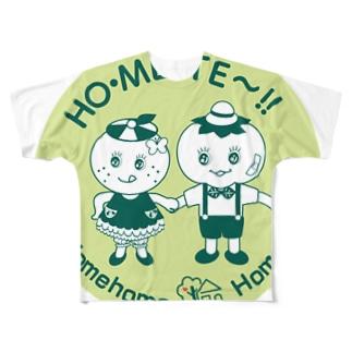 「ほめほめほーむ」まるグリーン フルグラフィックTシャツ