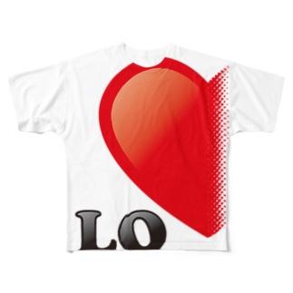 【suzuri店限定】光沢風でドットが♥ ラブラブ LO ペアルック  Full graphic T-shirts