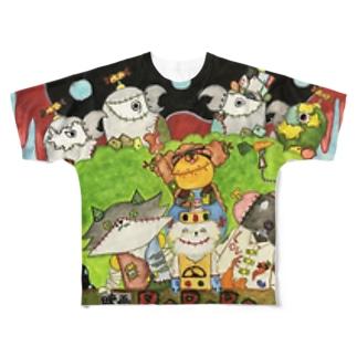 ROBOBO ふしぎな黒いピーナッツ Full graphic T-shirts