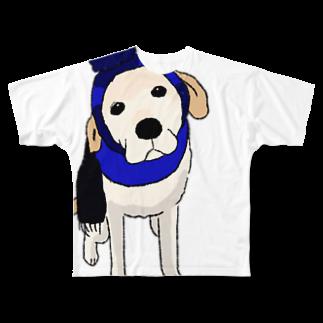 Dog Drawer Drawn by Dogのポンポンニット帽 フルグラフィックTシャツ