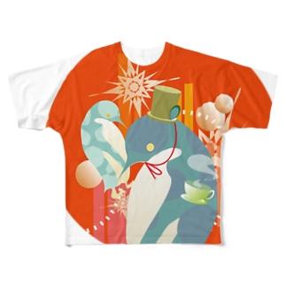 ペンギンTeaTime(赤) Full graphic T-shirts