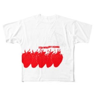 ストロベリー・ボムズ 黒 Full graphic T-shirts