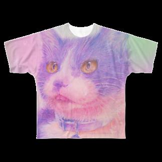 Miwa Kasumiの虹色の猫 Full graphic T-shirts