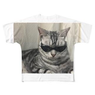 ブラックにゃおたむ Full graphic T-shirts