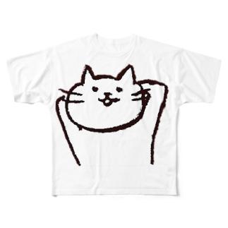 neko_手をうしろに Full graphic T-shirts