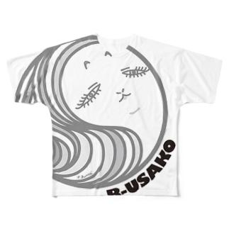 ぶさいくなウサ子さんサークル Full graphic T-shirts