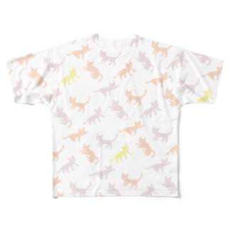 イッパイネコ 桃 Full graphic T-shirts