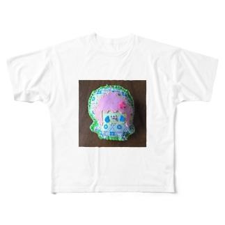 リイリフェルトマスコットぬいぐるみあおはな Full graphic T-shirts