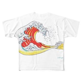 Drunk北斎 Full graphic T-shirts