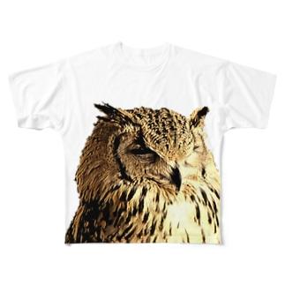 ぬいぐるみっぽいふくろう Full graphic T-shirts