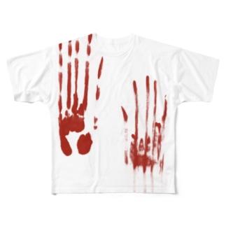 血塗られた手形シリーズ Full graphic T-shirts