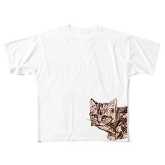 お魚くわえた野良猫 Full graphic T-shirts