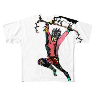 激しいタイツの男の上に猫さん Full graphic T-shirts