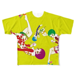 花とワインの女 Full graphic T-shirts