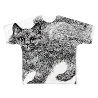 ふわふわの仔猫 Full graphic T-shirts