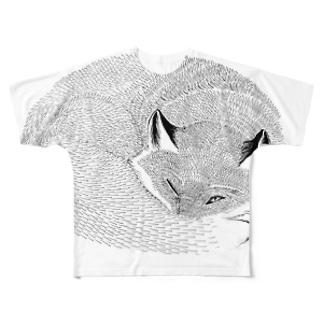 ねたふりきつね Full graphic T-shirts