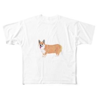 コーギー犬 Full graphic T-shirts