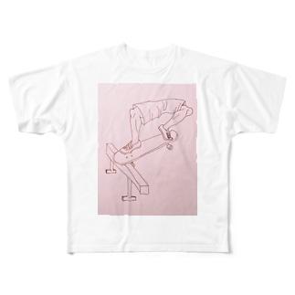 スケートボードでfront nose slide Full graphic T-shirts