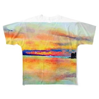 宍道湖の夕日 水彩 Full graphic T-shirts
