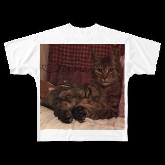 ぬこだいすき飼い主のしまおちゃんしぇくしーぽーず Full graphic T-shirts