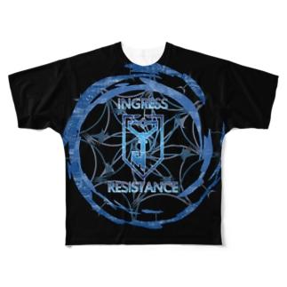 INGRESS RESISTANCE BlueFlare ver.Black Full graphic T-shirts