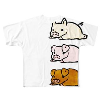 とんかつ・三元豚文字なし Full graphic T-shirts