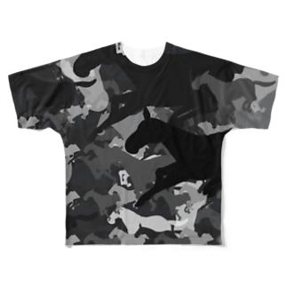 お馬迷彩 グレー Full graphic T-shirts