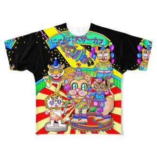 猛獣ショーにゃ♪-B Full graphic T-shirts