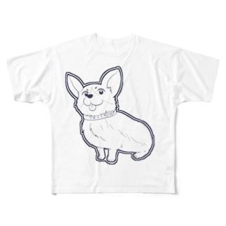 可愛いベロ出しコーギー Full graphic T-shirts