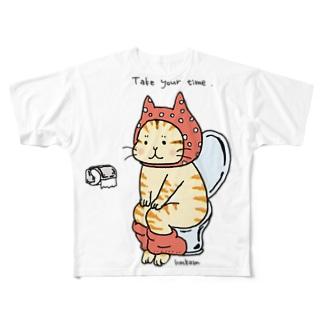 トイレねこ オレンジ Full graphic T-shirts