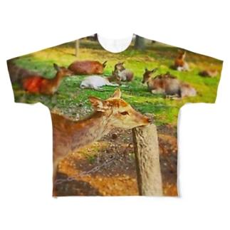 あごのせ奈良の鹿 Full graphic T-shirts