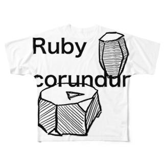 コランダムの結晶原石の晶癖 Full graphic T-shirts