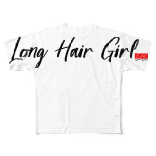 Long Hair Girl 【アイガスレディースロゴ】 Full graphic T-shirts