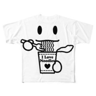 ラーメン大好き I Love Noodles(黒) Full graphic T-shirts
