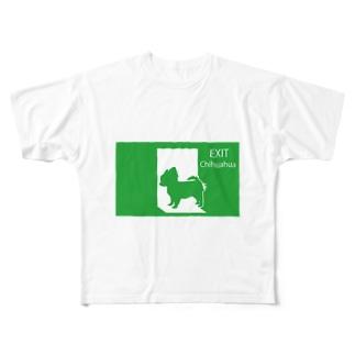 非常口のチワワさん Full graphic T-shirts