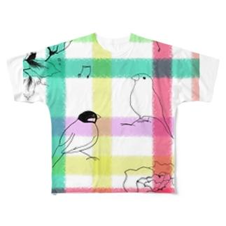 文鳥の春 Full graphic T-shirts