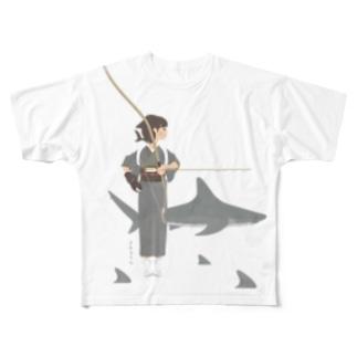 さめ子さん with ヤジブカ スマートフォンケースサメ女子 Full graphic T-shirts