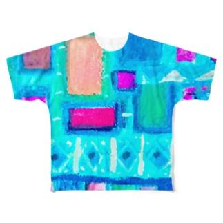 ターコイズスクエア Full graphic T-shirts