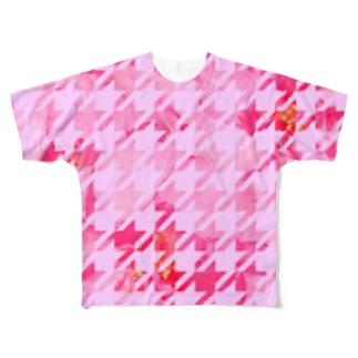 千鳥お花 Full graphic T-shirts