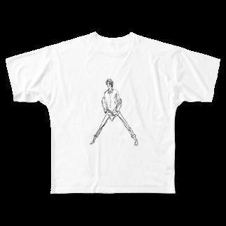 シシカバぐっずの大股開き男 Full graphic T-shirts