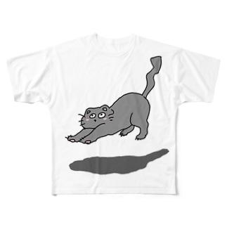 背伸び猫 Full graphic T-shirts
