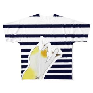 まいにち猫柄 背面白 Full graphic T-shirts